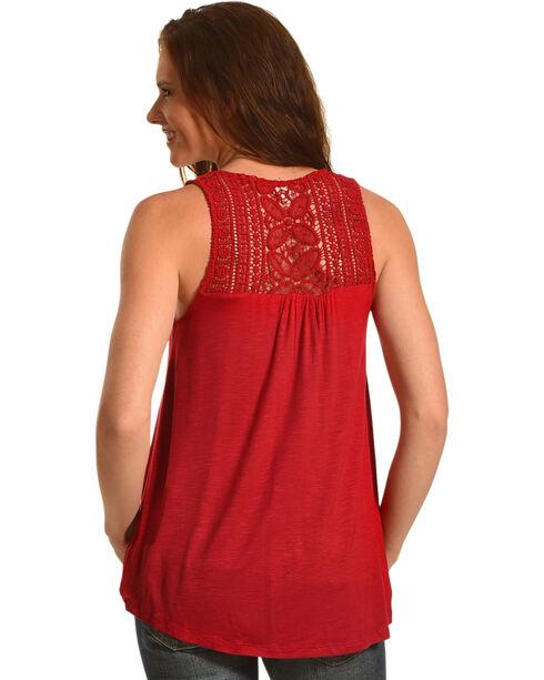 Eyeshadow Women's Crochet Detailed Sleeveless Top, Red, hi-res