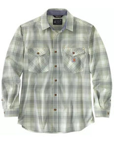 Carhartt Men's Sage Midweight Plaid Long Sleeve Button-Down Work Shirt Jacket , Green, hi-res