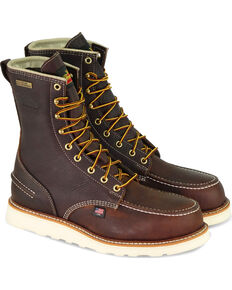 "Thorogood Men's Brown American Heritage 8"" Waterproof Work Boots - Round Toe , Brown, hi-res"
