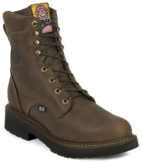 "Justin J-Max Rugged Gaucho 8"" Lace-Up Work Boots - Round Toe, Brown, hi-res"
