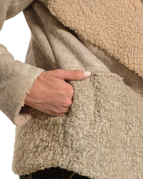 Mystree Women's Leather/Knit Mix Sherpa Jacket, Taupe, hi-res