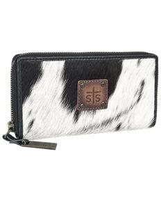 STS Ranchwear Women's Cowhide Aztec Bifold Wallet, Black, hi-res
