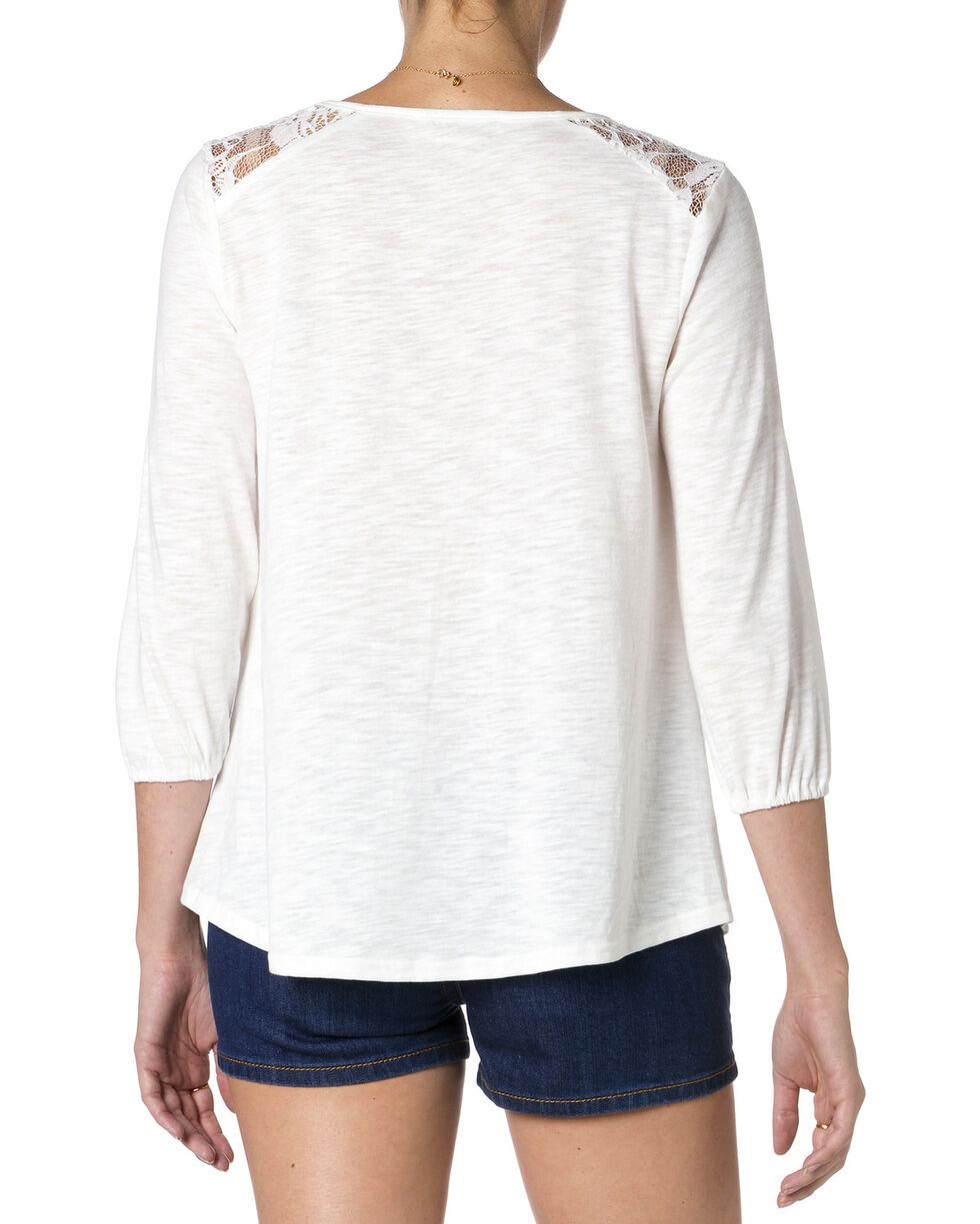 MIss Me Women's Mix-Match Lace Top, Off White, hi-res