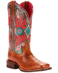 Ariat Women's Western Magnolia Cool Blue Embroidered Performance Cowgirl Boots - Square Toe, Brown, hi-res