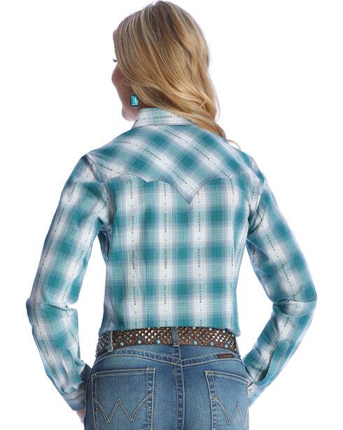 Wrangler Women's Turquoise Fancy Yoke Western Shirt , Green, hi-res