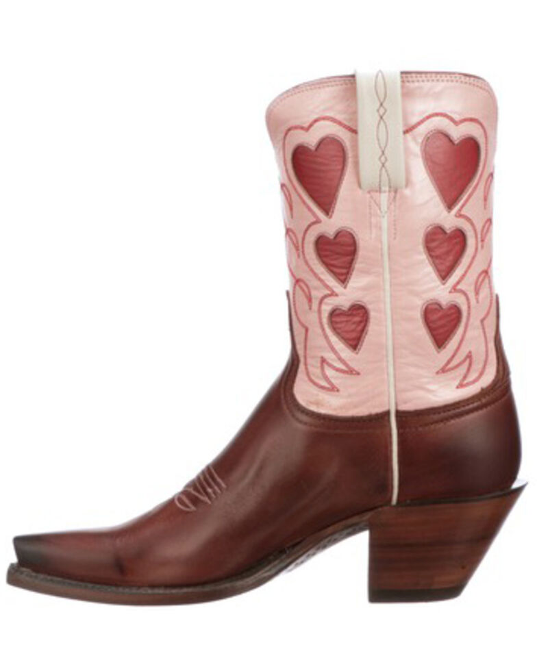 Lucchese Women's Queen Of Hearts Western Boots - Snip Toe, Pink, hi-res