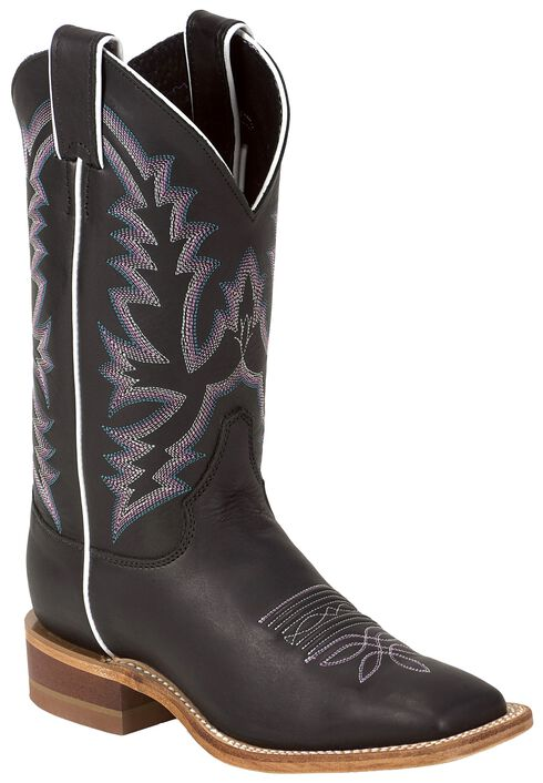 Justin Bent Rail Burnished Calf Cowgirl Boots - Square Toe, Black, hi-res