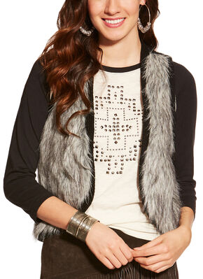 Ariat Women's Emma Faux Fur Vest , Black, hi-res