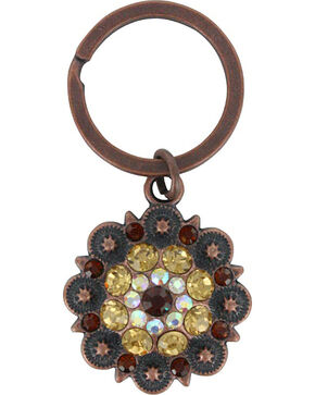 Shyanne Bronze Rhinestone Flower Key Chain , Brown, hi-res