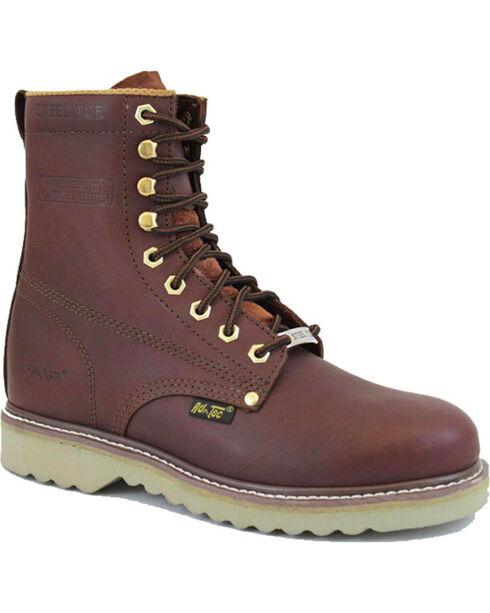 """Ad Tec Men's Full Grain Leather 8"""" Work Boots - Steel Toe, Mahogany, hi-res"""