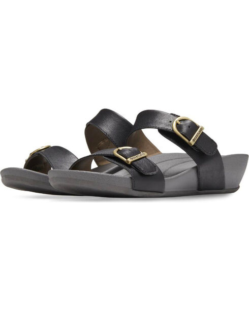 Eastland Women's Black Cape Ann Buckle Slide Sandals , Black, hi-res