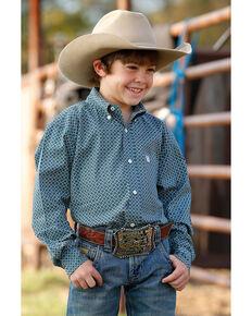 Cinch Boys' Green Geo Print Long Sleeve Western Shirt , Green, hi-res