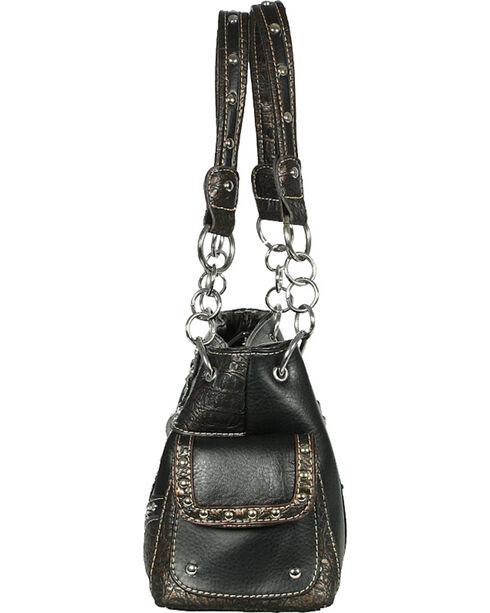 Savana Women's Faux Leather And Gator Concealed Carry Handbag, Black, hi-res