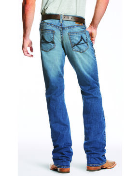 Ariat Men's Blue M5 Slim Fit Low Rise TekStretch Jeans - Boot Cut , Blue, hi-res