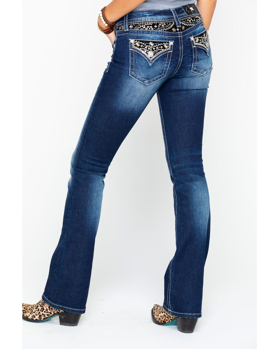 Miss Me Women's Embroidered Pocket & Yoke Boot Jeans, Medium Blue, hi-res