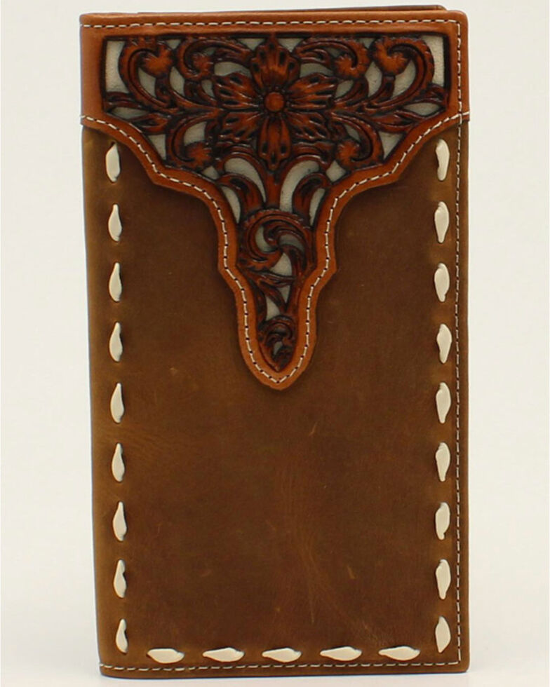 Ariat Men's Floral Tooled Rodeo Wallet, No Color, hi-res