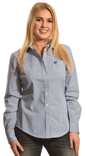 Cinch Women's Royal Arena Fit Stripe Long Sleeve Shirt , Royal, hi-res
