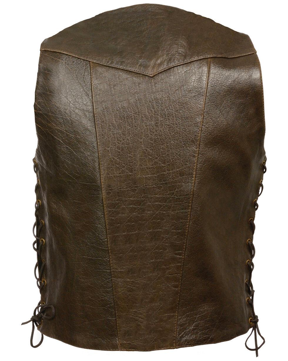 Milwaukee Leather Men's Retro Brown 10 Pocket Side Lace Vest - Big, Brown, hi-res