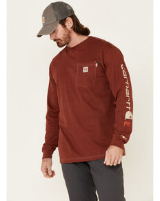 Carhartt Men's FR Heather Red Force Midweight Signature Long Sleeve Work Pocket T-Shirt, Heather Red, hi-res