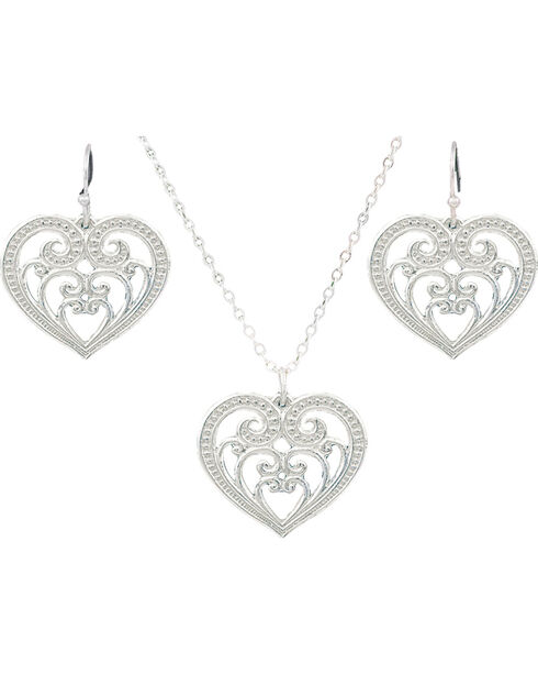 Montana Silversmiths Petite Blooming Heart Jewelry Set, Silver, hi-res