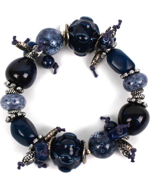 Treska Women's Chunky Beaded Bracelet, Blue, hi-res