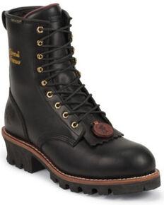 "Chippewa Waterproof & Insulated 8"" Logger Boots - Steel Toe, Black, hi-res"