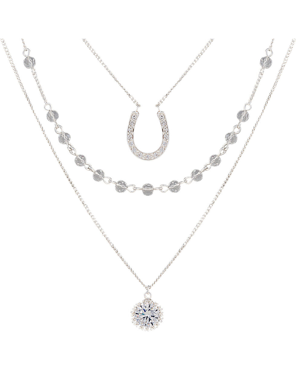 Montana Silversmiths Women's Fortune's Snowflake Necklace, Silver, hi-res
