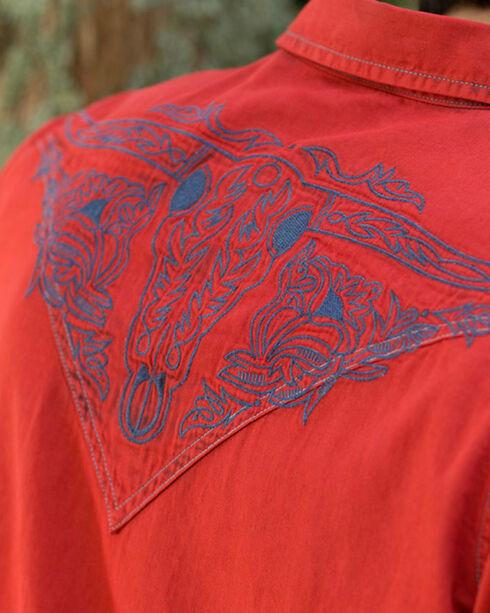 Ryan Michael Men's Red Embroidered Tinted Indigo Shirt, Red, hi-res