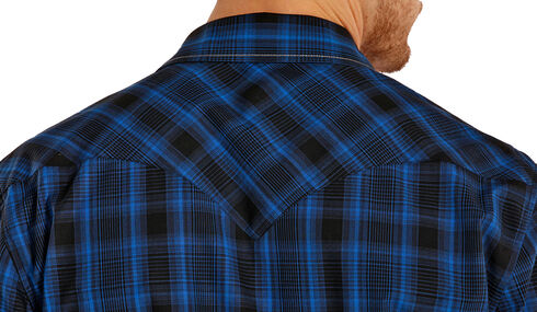 Rock and Roll Cowboy Blue and Black Poplin Western Snap Shirt , Plaid, hi-res