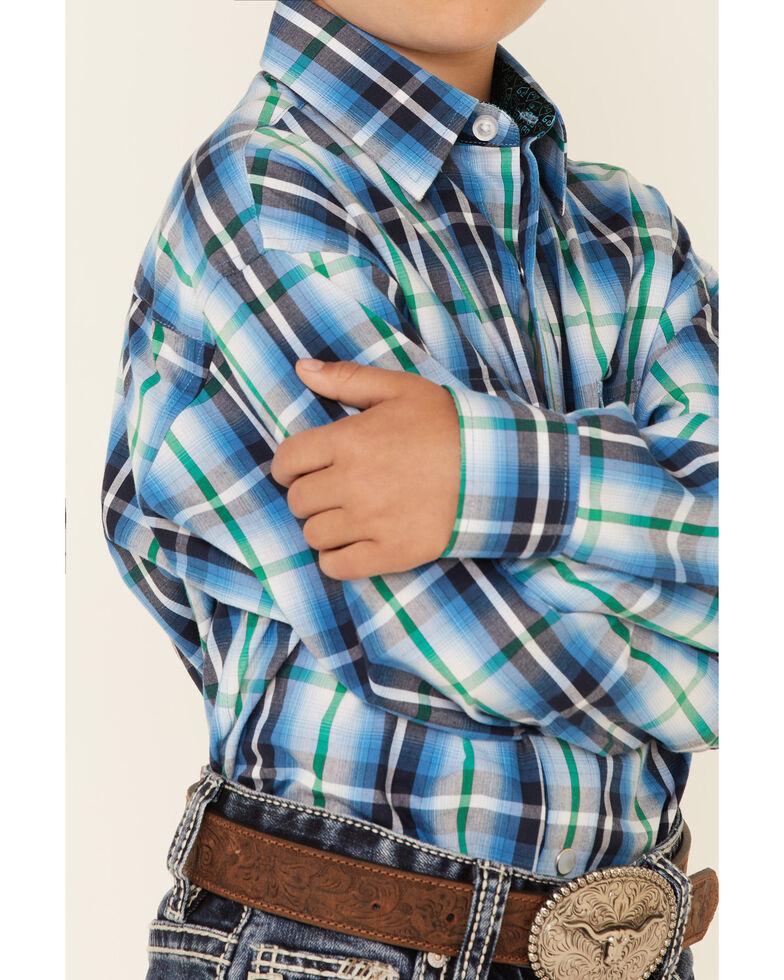 Panhandle Boys' Turquoise Plaid Long Sleeve Snap Western Shirt , Turquoise, hi-res