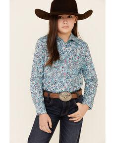 Cruel Girl Girls' Light Blue Floral Print Long Sleeve Western Shirt , Light Blue, hi-res