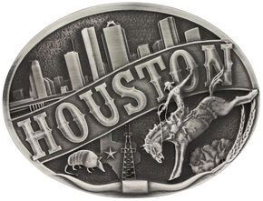 Montana Silversmiths Houston Attitude Belt Buckle, Silver, hi-res