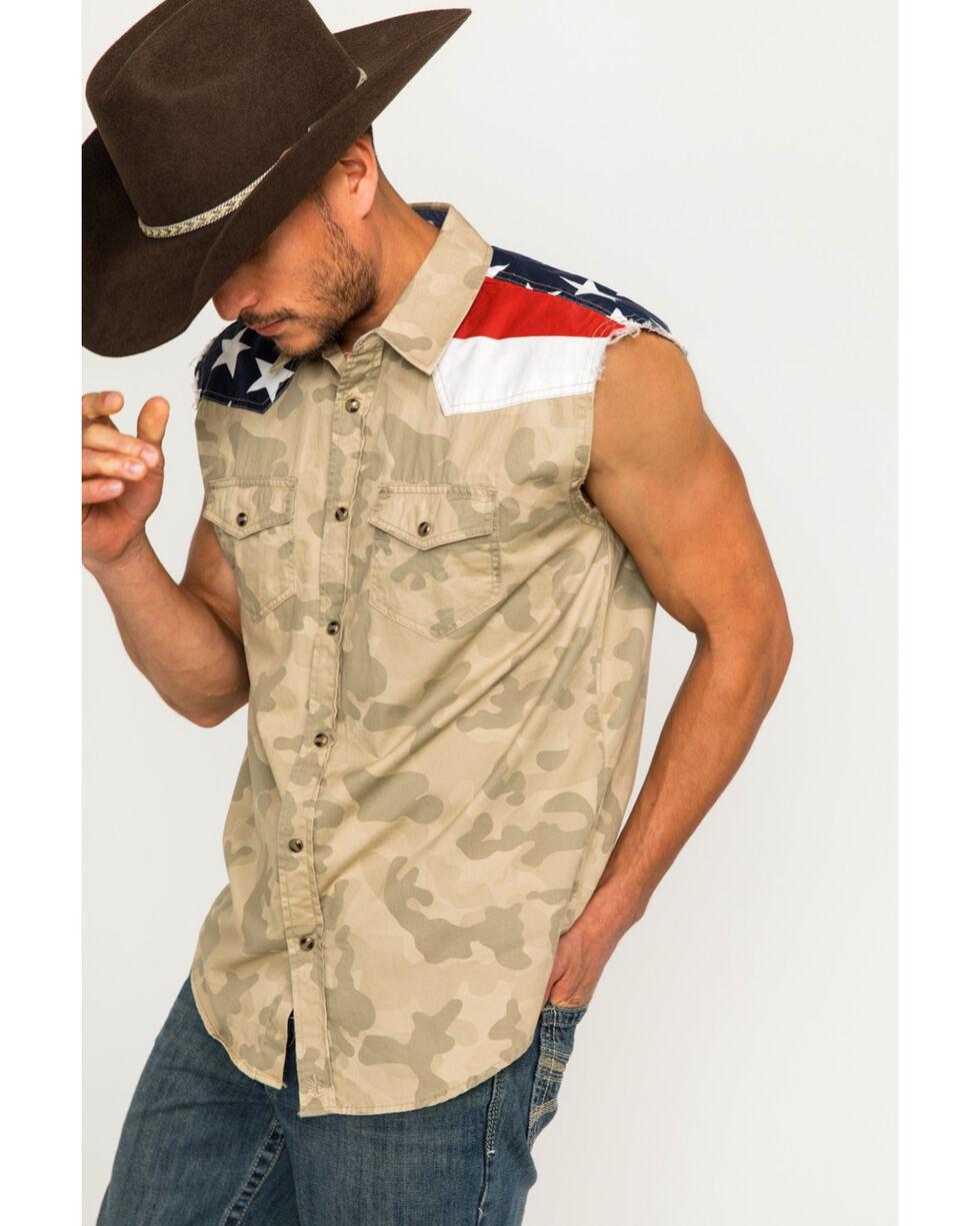 Cody James Men's Desert Dweller Flag Sleeveless Western Snap Shirt, Tan, hi-res