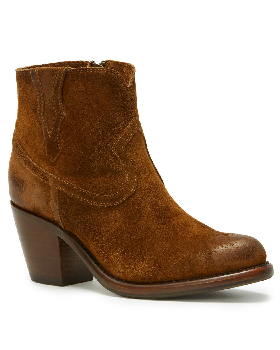 Frye Women's Medium Brown Lillian Western Booties - Round Toe , Medium Brown, hi-res