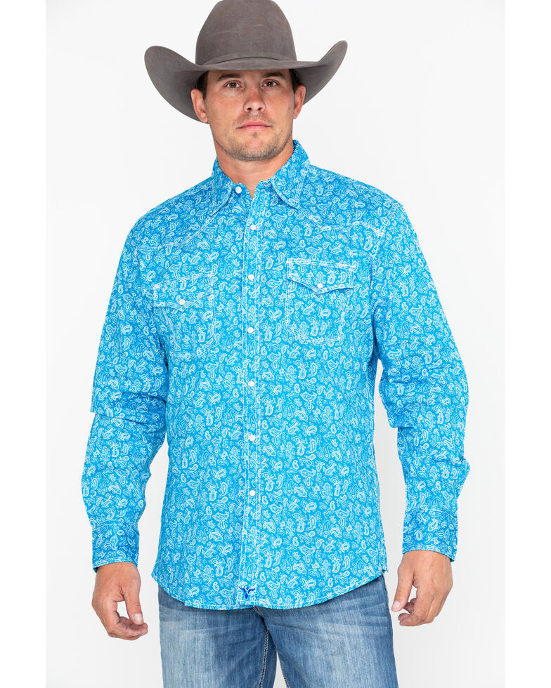 263a00e5 Zoomed Image Wrangler 20X Men's Turquoise Paisley Print Advanced Comfort Long  Sleeve Western Shirt , Turquoise, hi