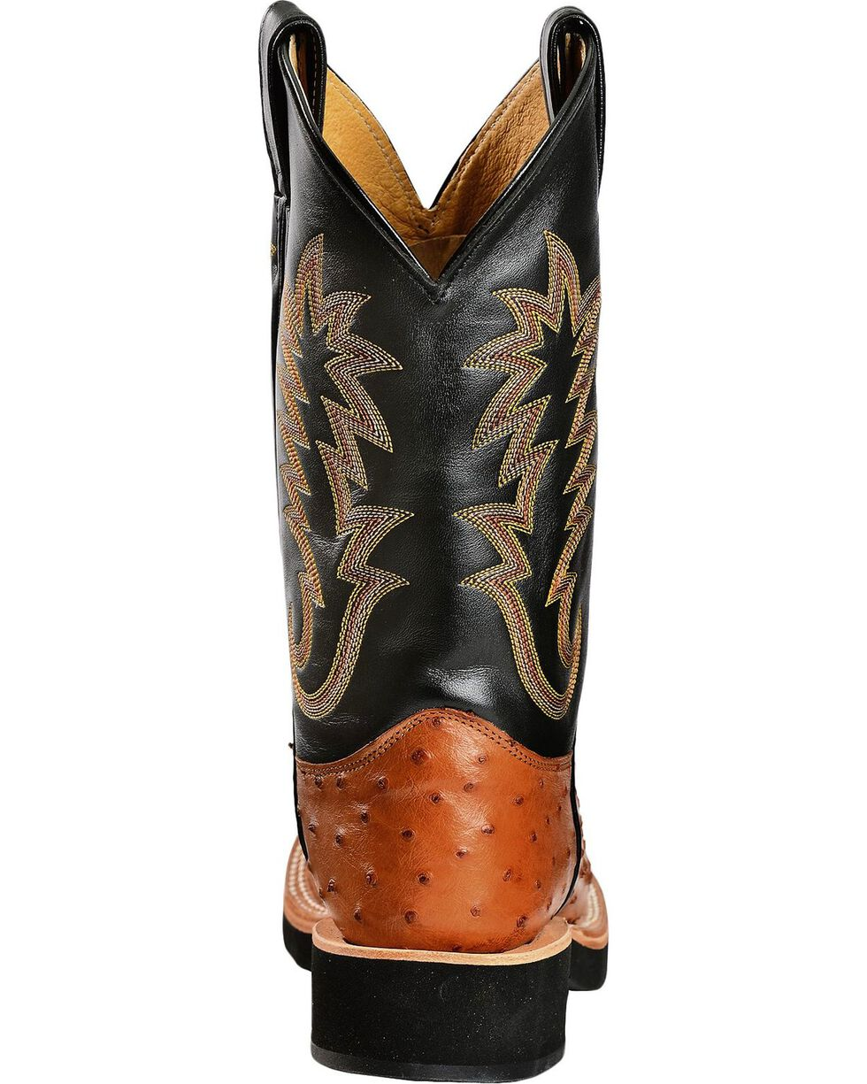 Justin Full Quill Ostrich Cowboy Boots - Round Toe, Cognac, hi-res