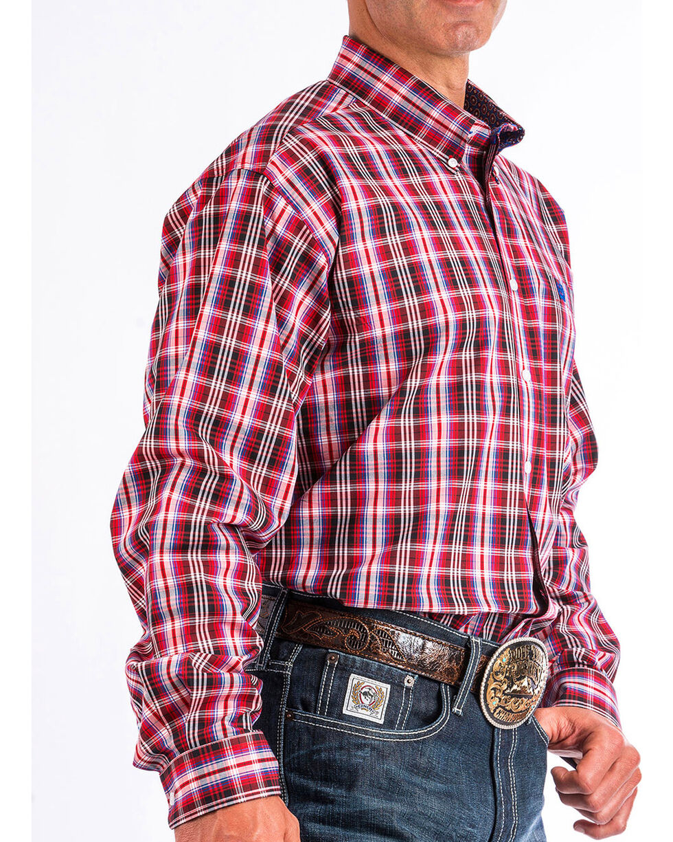 Cinch Men's Red Plaid Long Sleeve Button Down Shirt, Red, hi-res