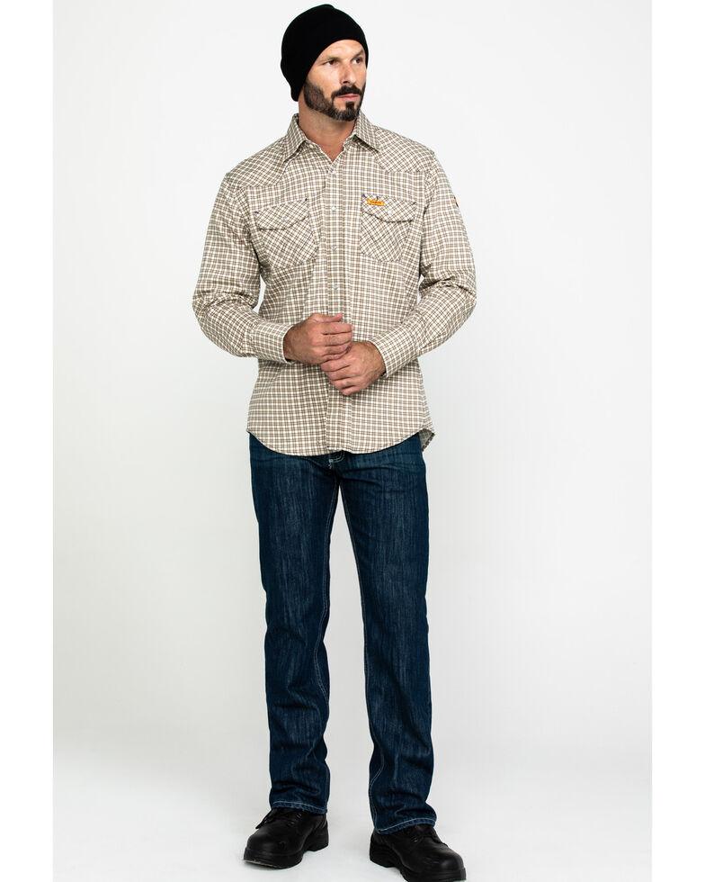 Wrangler Men's Flame Resistant Khaki Plaid Long Work Shirt, Khaki, hi-res