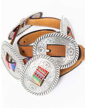 Nocona Women's Thin Multicolored Concho Belt, Multi, hi-res