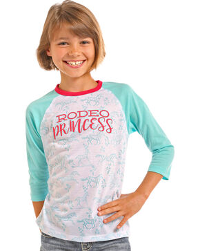 Rock & Roll Cowgirl Girls' Rodeo Princess Baseball Tee, Turquoise, hi-res