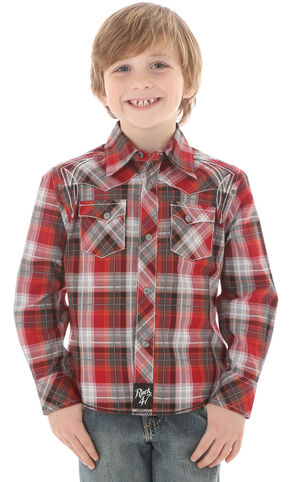 Wrangler Rock 47 Boys' Red & Grey Plaid Snap Shirt, Red, hi-res