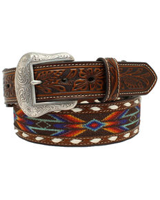 Nocona Men's Buck Laced Ribbon Inlay Western Belt, Multi, hi-res