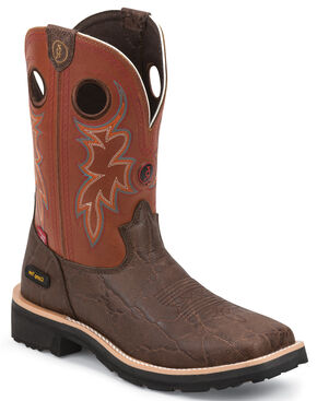 Tony Lama Walnut Elephant Print 3R Western Work Boots - Composite Toe , Walnut, hi-res