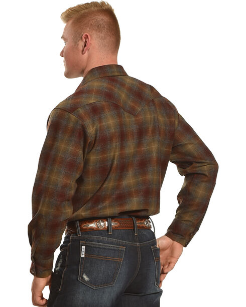 Pendleton Men's Maroon/Bronze Canyon Ombre Long Sleeve Shirt, Burgundy, hi-res