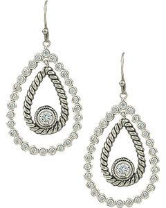 Montana Silversmiths Women's Hidden Treasure Raindrop Earrings, Silver, hi-res