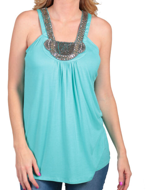 Rock & Roll Cowgirl Women's Bead Embellished Tank Top, Turquoise, hi-res