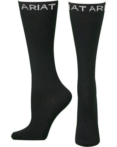 Ariat Men's Thin Black Boot Socks, Black, hi-res