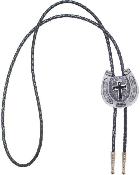 Western Express Men's Silver Horseshoe Cross Bolo , Silver, hi-res