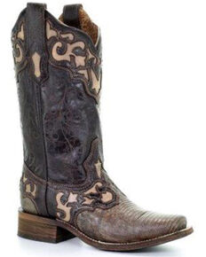 Corral Women's Lizard Beige Inlay Western Boots - Square Toe, Brown, hi-res
