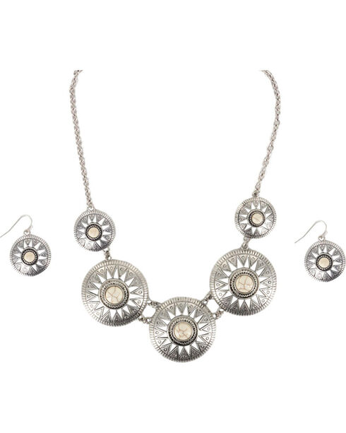 Shyanne Women's Concho Jewelry Set, Cream, hi-res